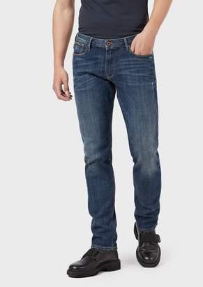Emporio Armani Slim-Fit J06 Comfort-Denim Jeans With Vintage Details