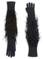 Michael Kors Feather Embellished Rib-Knit Gloves
