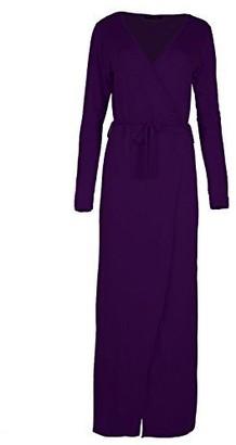Fashion Star Womens Dresses Sash Tie Belt Wrap Front Slit Maxi Knot Party V Neck Top Purple