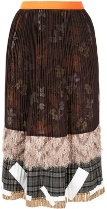 Kolor Pleated Patchwork Midi Skirt