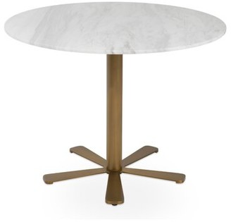 "sohoConcept Daisy Brass Gold Marble Table Size: 29.3"" H x 36"" L x 36"" W"