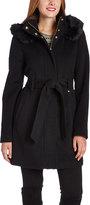 Ellen Tracy Black Faux Fur-Hood Wool-Blend Trench Coat
