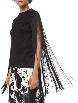 Michael Kors Collection Heavy Ribbed Fringe Pullover Sweater