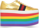 Gucci Peggy rainbow leather platform trainers