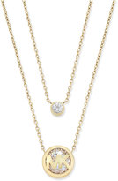 """Michael Kors 16"""" Gold-Tone Two Row Crystal Logo Pendant Necklace, First at Macy's"""
