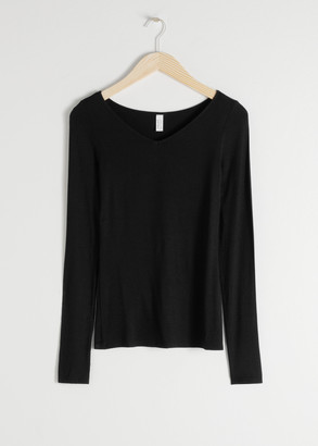 And other stories V-Cut Stretch Long Sleeve Tee
