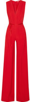 ADAM by Adam Lippes Belted Pleated Crepe Jumpsuit - Crimson