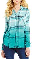 Westbound Petites One Pocket Hi-Low Button-Front Plaid Shirt