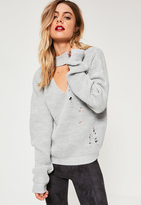Missguided Grey Choker Neck Distressed Sweater