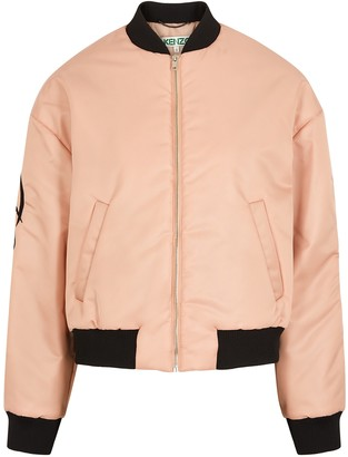 Kenzo Pink logo-embroidered shell bomber jacket