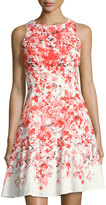 Maggy London Floral-Print Fit & Flare Dress, Orange Pattern