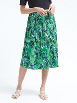 Banana Republic Floral Pleated Midi Skirt