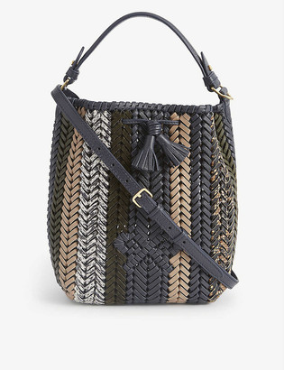 Anya Hindmarch Neeson drawstring small woven leather tote