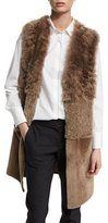 Brunello Cucinelli Mixed-Shearling Fur Long Vest, Bark