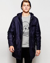 Cheap Monday Hooded Parka Jacket Cage Padded - Blue