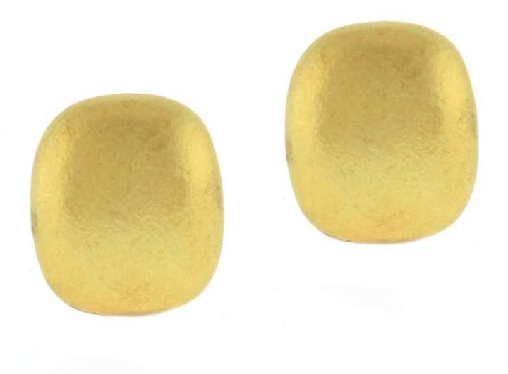 Tiffany & Co. 18k Yellow Gold Cushion Shape Textured Gold Earrings