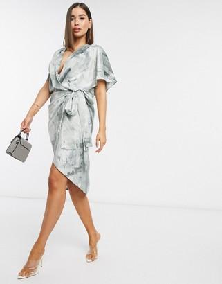 Asos Design DESIGN satin kimono wrap midi dress in abstract print