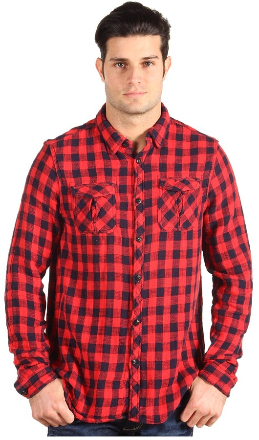 Scotch & Soda L/S Plaid Shirt w/ Contrast Lining (Red/Navy Check) - Apparel