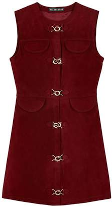 ALEXACHUNG burgundy suede mini dress