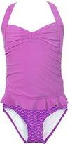 Fin Fin Fin Fun Mermaid Girls Clamshell Tankini Set, Light Purple Top, Asian Magenta Bottom, X-Large