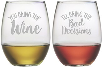 Susquehanna Glass Bring The Bad Decisions Stemless Wine Tumbler (Set of 2) 21oz