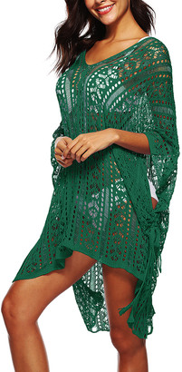 Wood Wood MIXI Women's Swimsuit Coverups Wood - Wood Green Sheer Crochet Cape-Sleeve Hi-Low Cover-Up