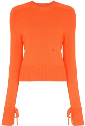 Victoria Beckham Tie Sleeve Long-Sleeved Jumper