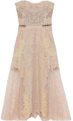 Jonathan Simkhai Strapless Ring-embellished Paneled Lace Midi Dress