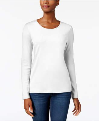 Charter Club Pima Cotton Long-Sleeve Top