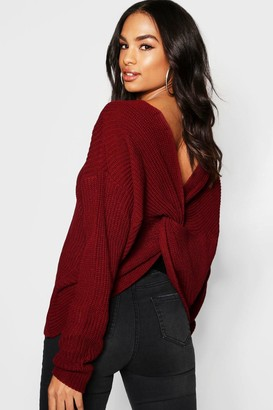 boohoo Tall Crop Twist Back Sweater