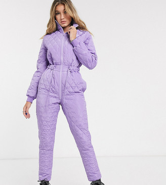 Reclaimed Vintage inspired quilted jumpsuit with drawcord waist