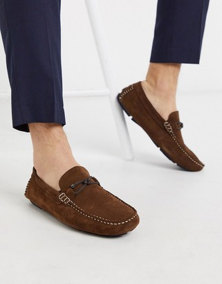 Ted Baker cottn driving shoes in tan suede
