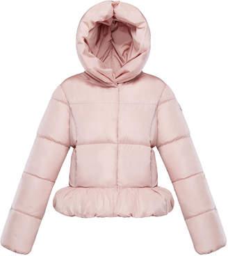 Moncler Cayolle Short Hooded Ruffle Hem Puffer Jacket, Size 8-14