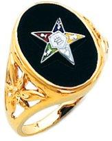 US Jewels And Gems New Ladies 10k Gold Masonic Freemason Eastern Star Ring (Size 6)