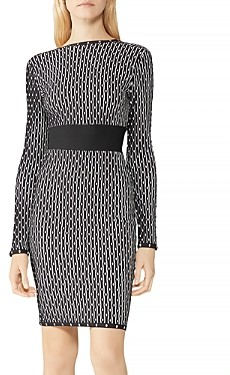 Herve Leger Printed Boatneck Dress