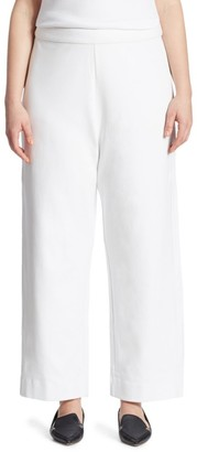 Joan Vass, Plus Size Stretch-Cotton Interlock Wide-Leg Pants