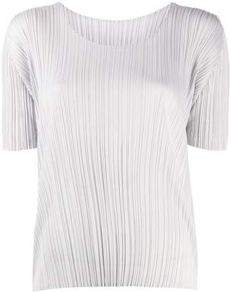 Pleats Please Issey Miyake pleated scoop neck T-shirt
