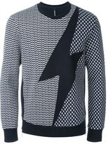 Neil Barrett lightning bolt sweatshirt - men - Cotton/Spandex/Elastane/Lyocell/Viscose - S