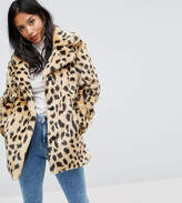 Asos Faux Fur Coat in Leopard