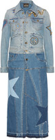 Roberto Cavalli Two-tone Appliquéd Denim Coat - Mid denim