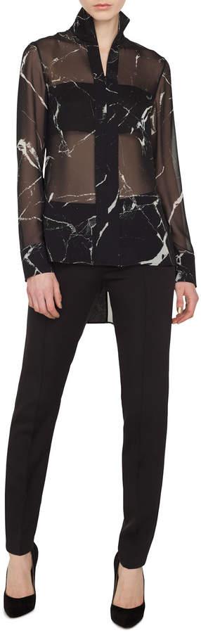Akris Long-Sleeve Zip-Front Marble Tiles Print Silk Crepe Tunic Blouse