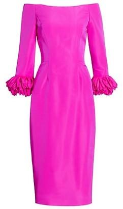 Catherine Regehr Off-The-Shoulder Silk Faille Anemone- Cuffs Cocktail Dress
