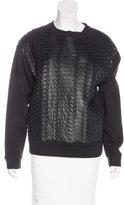 Cédric Charlier Vegan Leather Textured Sweatshirt