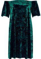 River Island Womens Green velvet bardot swing dress