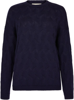 People Tree Clyde Lace Knit Jumper - 8 (UK) | navy blue | merino wool - Navy blue
