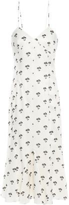Victoria Beckham Floral-print Twill Midi Slip Dress