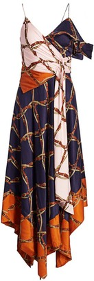 Jonathan Simkhai Saddle-Print Asymmetric Scarf Midi Dress