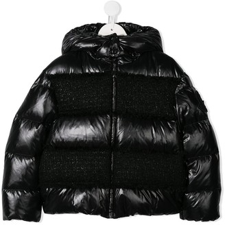 Moncler Enfant Tweed-Panel Padded Jacket