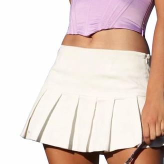 Femereina Women Y2K Sexy Mesh Patchwork Gothic Skirt High Waist Double Layer Pleated Mini Skirt A-Line Dress Streetwear (Brown L)