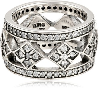 King Baby Studio Wide Band with MB Cross and Cubic Zirconia Ring Size 6